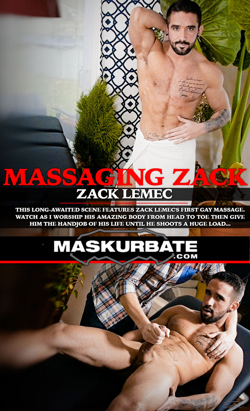 Massaging Zack Lemec at Maskurbate