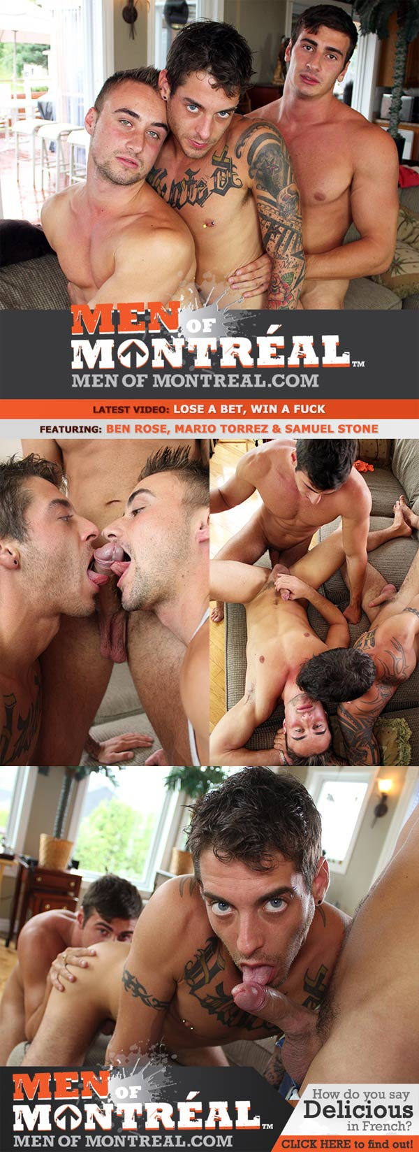 Lose A Bet, Win A Fuck (Ben Rose, Mario Torrez & Samuel Stone) at MenOfMontreal