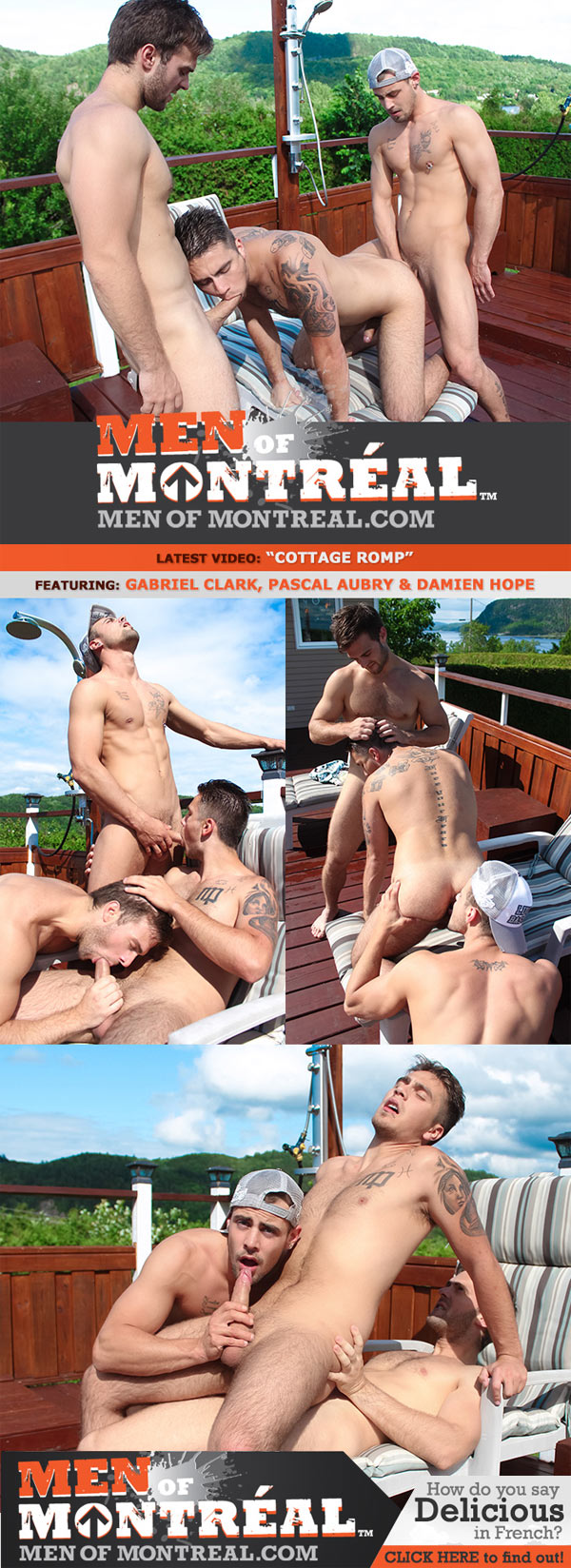 Cottage Romp (Gabriel Clark, Pascal Aubry and Damien Hope) at MenOfMontreal
