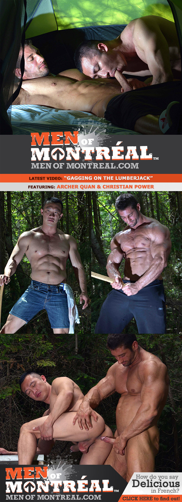 Gagging on The Lumberjack (Archer Quan & Christian Power) at MenOfMontreal