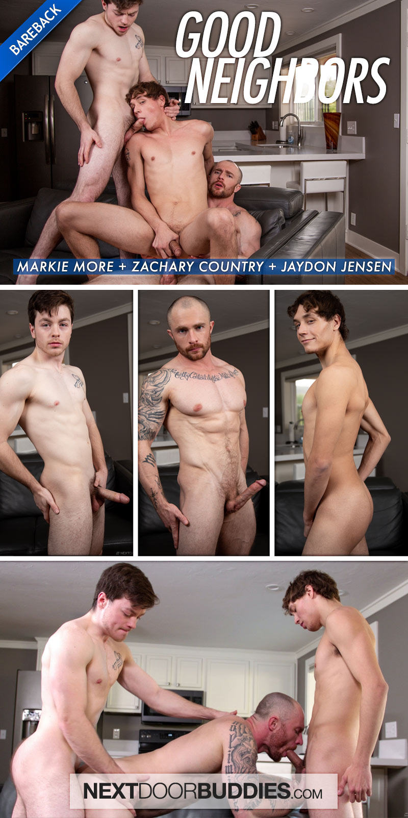 Good Neighbors (Markie More, Zachary Country and Jaydon Jensen) (Bareback) at Next Door Buddies