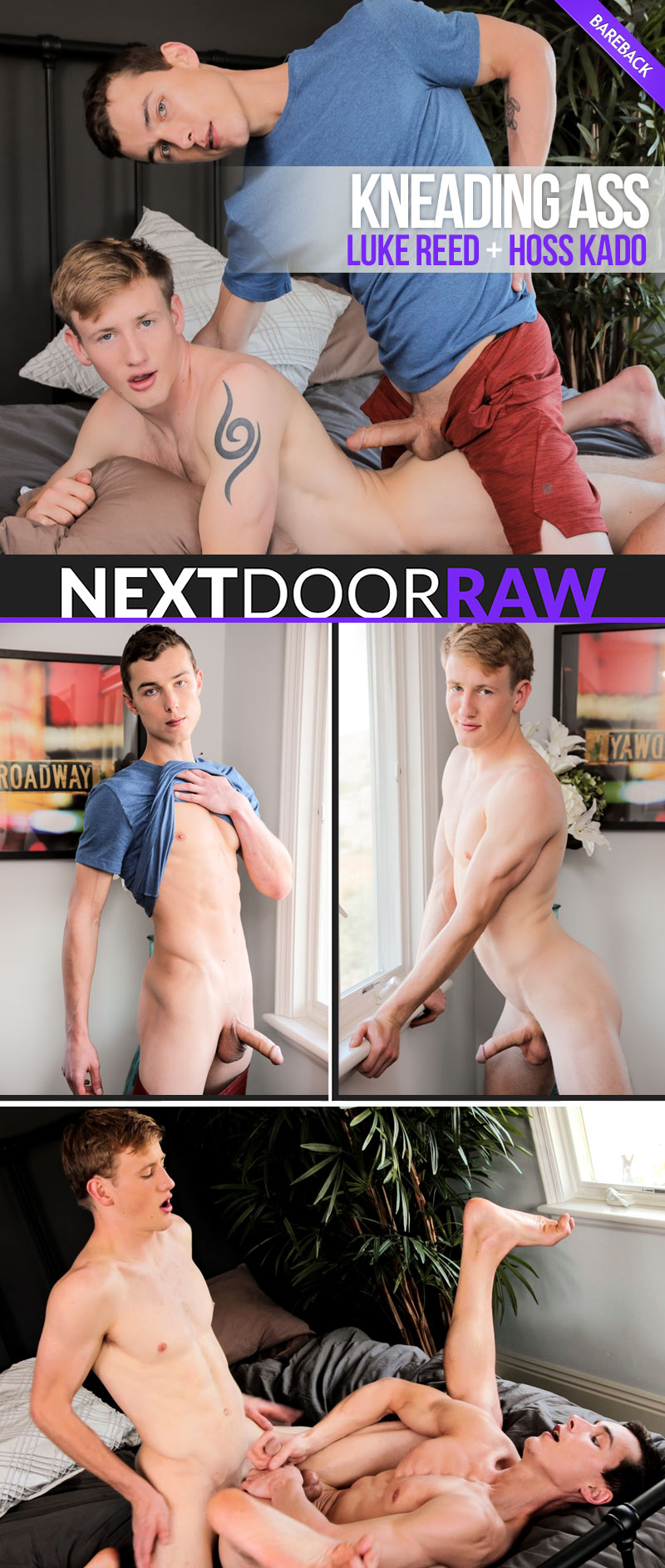 Kneading Ass (Luke Reed Fucks Hoss Kado) (Bareback) at NextDoorRAW!
