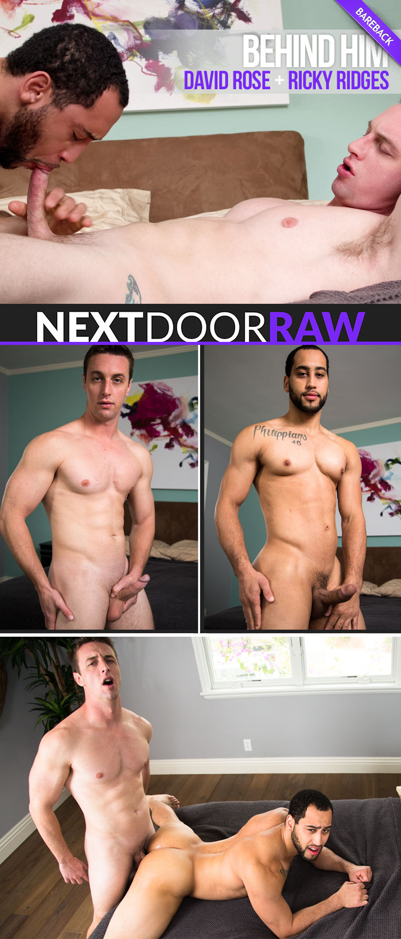 Behind Him (Ricky Ridges Fucks David Rose) (Bareback) at NextDoorRAW!