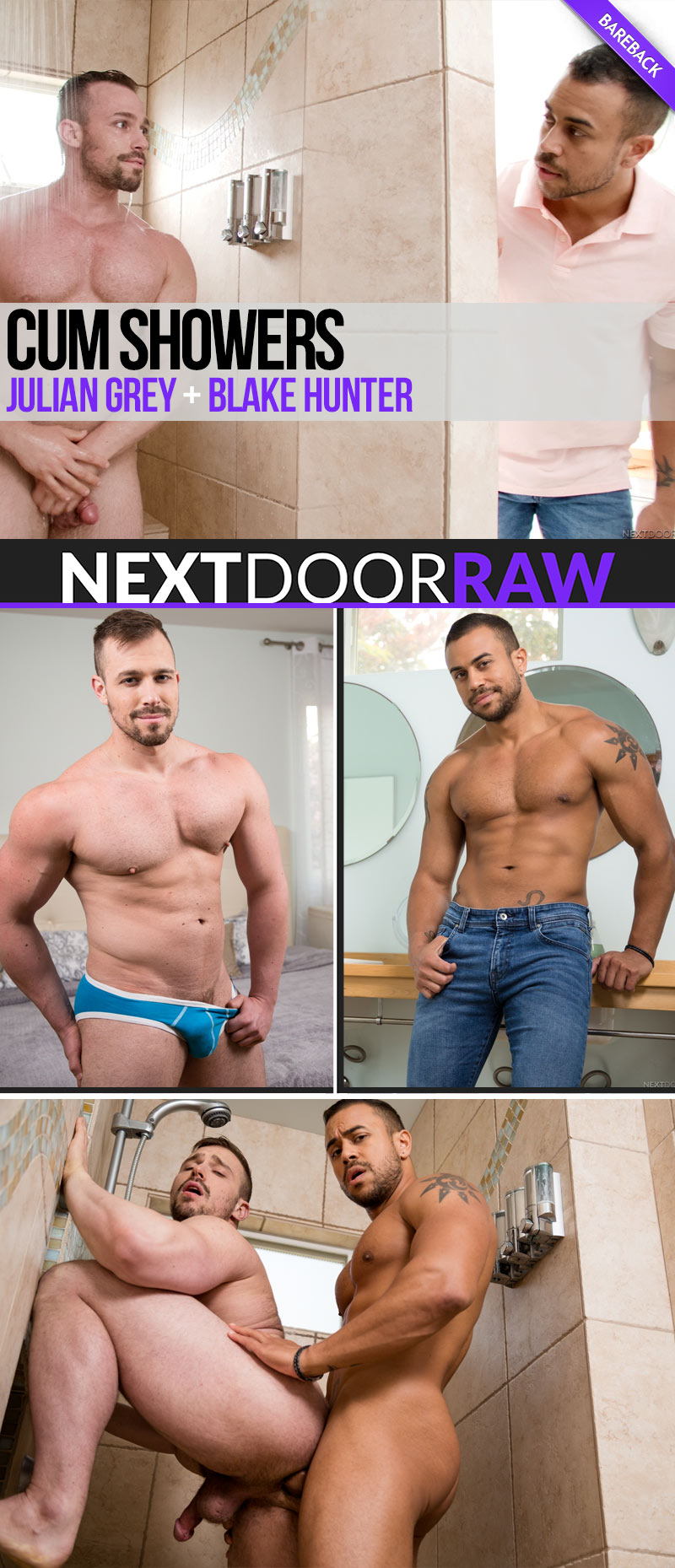 Cum Showers (Julian Grey and Blake Hunter Flip-Fuck) at NextDoorRAW!