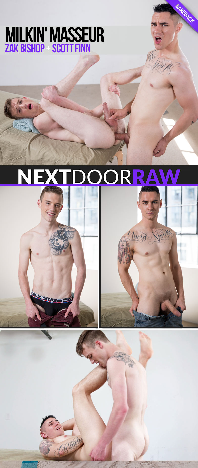 Milkin' Masseur (Zak Bishop and Scott Finn Flip-Fuck) (Bareback) at NextDoorRAW!
