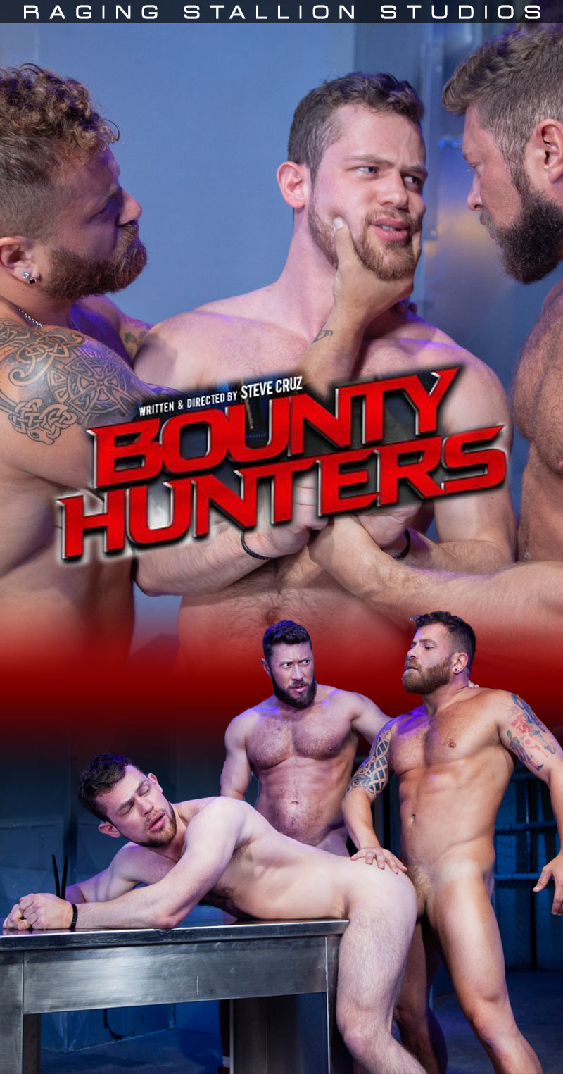 Bounty Hunters, Scene Four (Johnny Ryder, Kurtis Wolfe and Riley Mitchell) at Raging Stallion