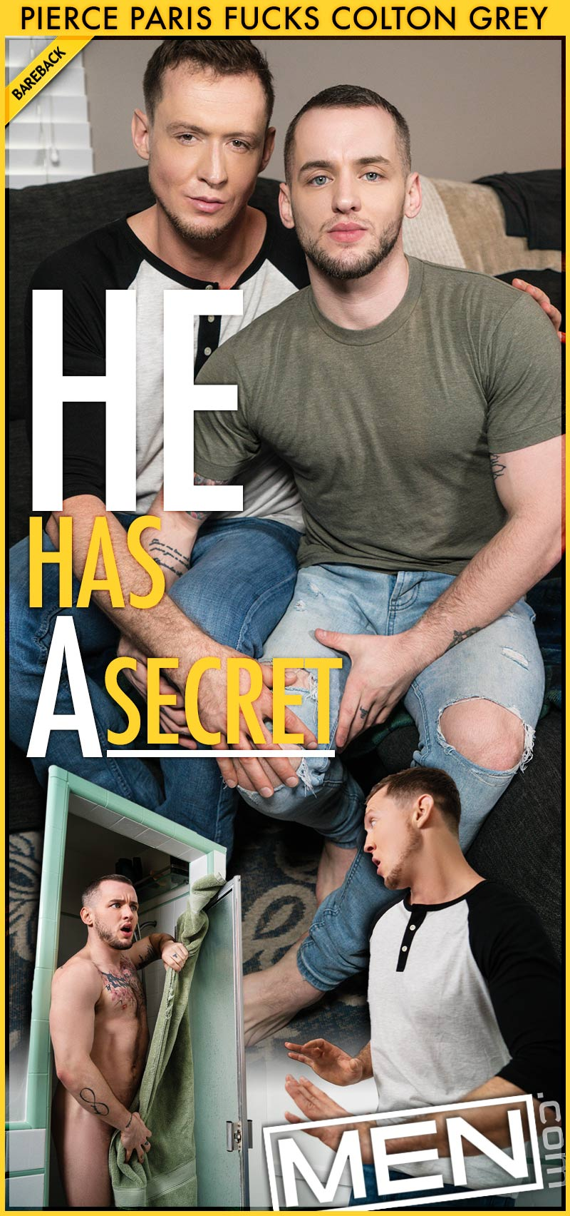 He Has A Secret: Bareback (Pierce Paris Fucks Colton Grey) at Str8 To Gay