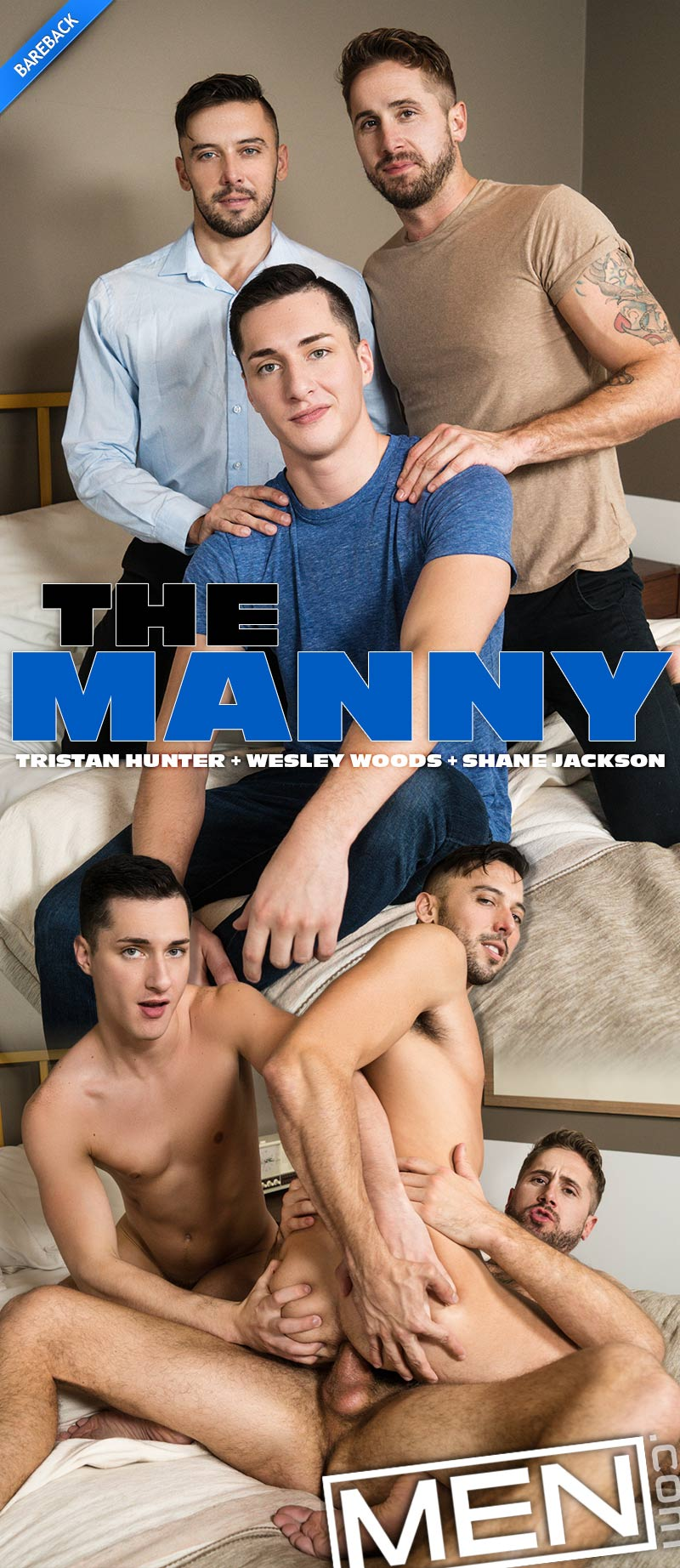 The Manny, Part Two: Bareback (Tristan Hunter, Wesley Woods and Shane Jackson) at Str8-To-Gay