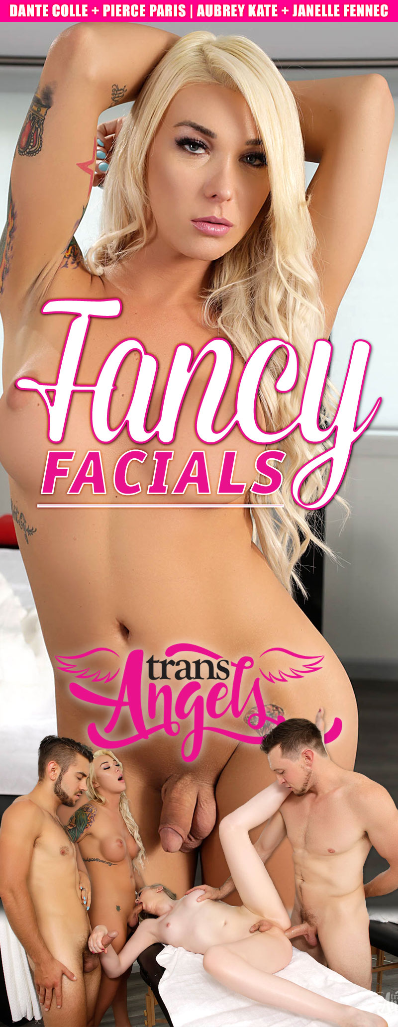 Fancy Facials (Dante Colle and Pierce Paris Fuck Aubrey Kate & Janelle Fennec) (Bareback) at Trans Angels